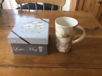 """Boxed, never used Fine China Latte Mug """"In Bloom"""" from water lane gifts"""