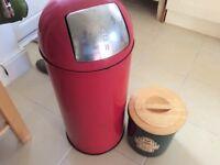 Green stone bread bin with wooden lid unused & kitchen bin red £5