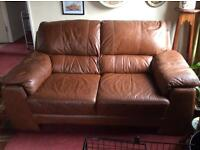 3+2+1 tan brown leather suite with electric recliner chair.
