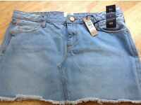 River Island denim skirt - new with tags size 14, £10, open to offers.