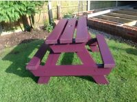 Pub style picnic table with seats