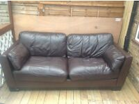 REAL LEATHER BROWN SOFA 3 seater