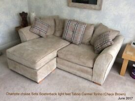 Charlotte Chaise Sofa Scatterback with reversible cushions