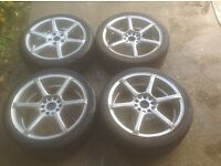 Wolfrace alloys. Set of 4, 6 spoke, 18x7.5j rims with tyres. See pics of dings etc.