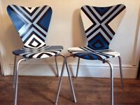 Striking pair of retro style chairs in blue & white