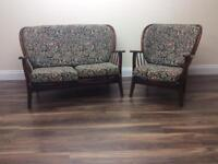 Vintage Mid Century Ercol style sofa and chair