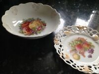 Fruit bowl and lacework plate