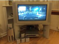 TV 32 inch screen with surround sound DVD Player and stand. Sony