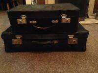 2 Rectro Vintage Small Navy Blue Suitcases 1 Antler 46x30. 60x33c