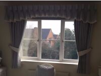 A set high quality curtains with pelmets and tiebacks