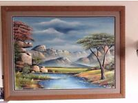 African landscape framed painting from Ghana