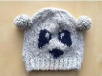 VGC Ladies Panda Bear Grey and Navy Winter Hat Beanie