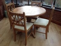 Solid Pine Table and 4 Chairs VGC