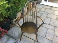 1 Vintage Ercol Quaker Solid Wood Carver Chair