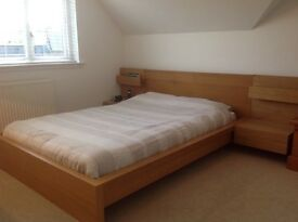 Very good quality wood double bed frame and double mattress for sale - together or separately