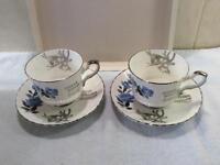 Blue rose Royal Stafford bone china 25th anniversary tea set