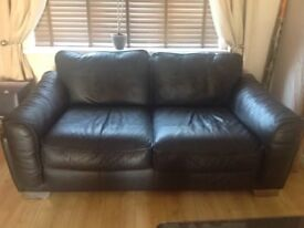 Reduced - Real Leather 3 and 2 piece settee