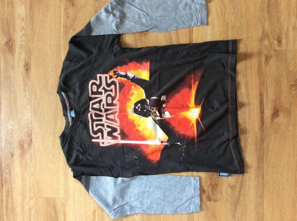 Boys Black Star Wars Darth Vader Long Sleeved Top.Age 11