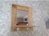 Mirror shelf key hook