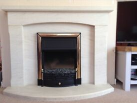 Fireplace, marble effect stone