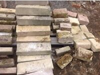NEW ( weathered ) and some used, decorative garden bricks / plant stands / walling / edgings etc.