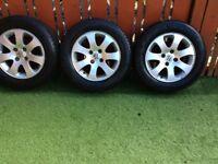 3x Peugeot alloy wheels plus 1 steel rim 195/65/15