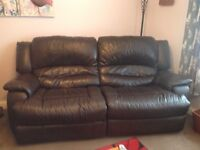 Three seater leather sofa, electric recliner fab condition