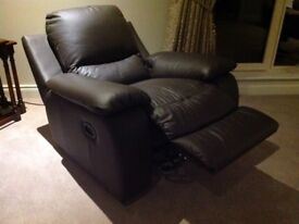 Dark brown leather electric reclining chair