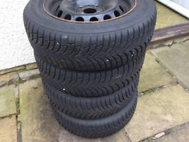 4x winter tyres and wheels in excellent condition, suit KA or Fiat 500