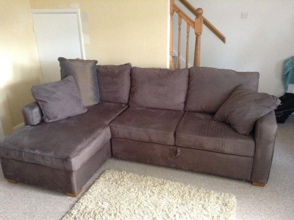 John Lewis Mocha Corner Sofa And Sofa Bed With Footstool