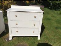 White three drawer chest of drawers