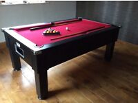 DPT pool table 6ftx4ft slate bed black and red very good condition