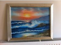 Paintings, two original acrylic seascapes