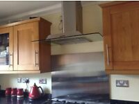Glass and stainless steel extractor hood with chimney and 2 lights