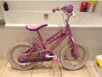 Girls Disney Princess 14inch bike with stabilizers