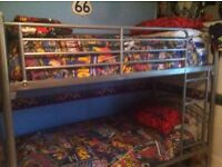 Silver Bunk Beds + Duvets, pillows and Marvel Comic Characters Duvet covers. Hardly Used.