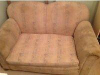 Edwardian drop-arm sofa, needs re-upholstering. Vintage 2 seater. Original horsehair stuffing.