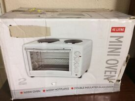 Mini Oven - New Condition in Box - iGENIX 45L 1600w Oven & Hot plates, double insulated glass doors