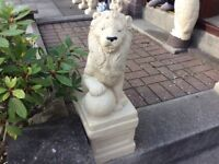Concrete garden pair of lion ornaments