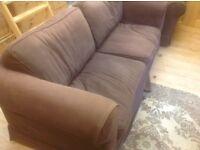 FREE - chocolate brown sofa and armchair