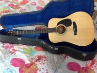 Fender steel string acoustic guitar, hard case and stand.