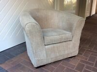 Arm chair bucket style, Beige tweed style material, very good condition and hardly used.