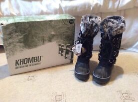 Ladies Khombu long boots, fully waterproof, fur lined, thick rubber soles. Brand new with tags.