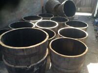 Whiskey barrel planters pots