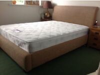 Beige material King Sized Bed and Mattress