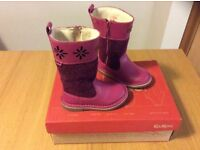 Kickers girls pink leather and felt boots size 23/6