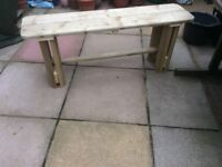 Sturdy handmade garden bench made from treated soft wood