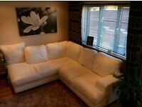 Stunning 6 seater white leather corner unit & Chair