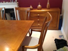 Solid maple dining table with 6 chairs