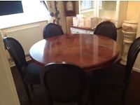 Italian dining table and 5 chairs